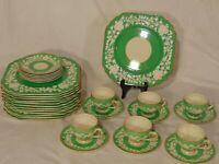31 pc Green George Jones Crescent Rhapsody Luncheon Set Plate Cups Saucers