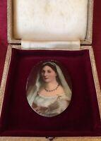 Antique 19th Century Hand Painted Porcelain Miniature Woman w/ A Veil La Velata