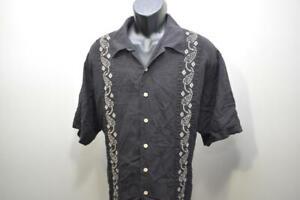 Cubavera Hawaiian Shirt Linen Rayon Black Relaxed Short Sleeve Mens Size 1X