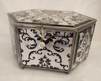 "Trinket Jewelry Box Beveled Mirrors Black Design 6 sided 6.5""  x 4.5"" x 3.5"""