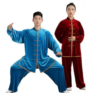 Velvet Martial Arts Uniform Tai Chi Kung Fu Suit Clothing Gold Trimming Thick