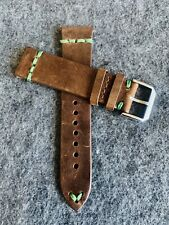 22mm DARK BROWN Vintage Crazy Horse Leather Watch Strap Band GREEN Stitch QR