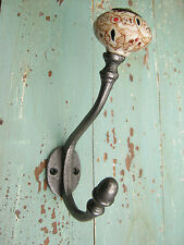 Cast Iron Coat Hook with Painted Ceramic Tip Vintage / Victorian / Shabby Chic