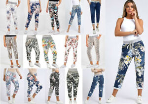 Womens Ladies Denim Floral Print Summer Beach Turn Up Trousers Joggers Pants