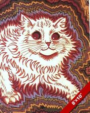LOUIS WAIN RED & WHITE CAT ANIMAL PAINTING WILD PET ART REAL CANVAS PRINT