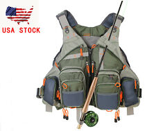 KyleBooker Fly Fishing Mesh Vest General Size Adjustable Mutil-Pocket Outdoor