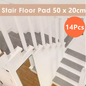 Stair Treads Set of 14 Indoor Non Slip/Skid Rubber Mats Pads Carpet Rugs - Gray