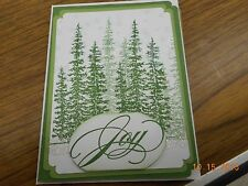 Stampin Up Handmade Greeting Card Pine tree Glittery Joy