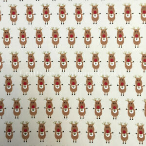100% Cotton Christmas Cream Cute Novelty Reindeer Rudolf  Fabric 50 x 140 cm