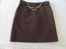 MILLY Brown txtured Gold Bead Detail A-Line Skirt Size 4 W/Pockets