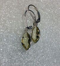 925 Sterling Silver Marquis Cut Natural Lemon Quartz Lever Back Earrings 2.95CTW