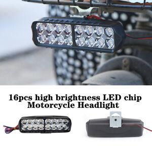 16 LED 1800LM Motorcycle Bike External Bulb Headlight Rearview Mirror Mount Lamp