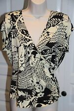 Women's L Large Stretch Top Black Career V-Neck Crossover Style