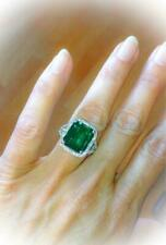 3Ct Emerald & Diamond Stone Solitaire Engagement Ring 14K White Gold Over