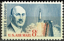 Us Space Pioneer Goddard first liquid-fueled rocket stamp 1982 Mnh