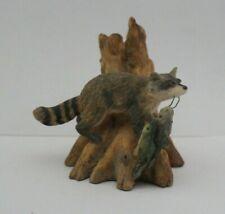 "Schmid Lowell Davis Hand Painted""Creek Bank Bandit""Raccoon w/Catshish Figurine"