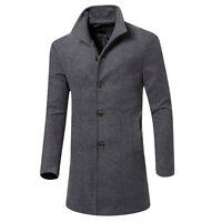 Formal Trench Coat Peacoat Overcoat Men Long Wool Jacket Outwear Fit 4 Colours