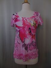 Style & Co. Petite Embellished Floral Print Studded Graphic Tee Pink PP #2437