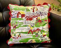 COWBOY WESTERN Pillow Cover -Barkcloth Era Vegan Vintage midcentury Kids Ric Rac