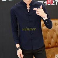 Chinese Style Mens Slim Fit Stand Collar Tops Casual T-Shirt Blouses Shirts win