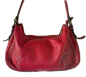 Maxx New York Red Genuine Leather Shoulder Bag, Gold Tone Studded Accents