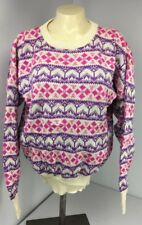 Vtg Meister Size M Sweater 80's Wool Pink Purple Nordic Long Sleeve Pullover Ski