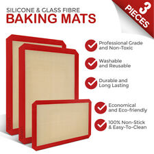 LIVIVO 3 Piece Set Baking Sheet Mat Silicone and Glass Fibre Material Heat to