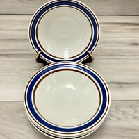 "Anchor Dinnerware 7"" SOUP CEREAL BOWLS Stoneware White w Blue Rim Set of 4 Japan"