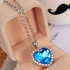 Fashion Neoglory Titanic Ocean Heart Pendant Necklace Crystal Rhinestone Jewelry