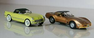DANBURY MINT 2pc Set - CHEVROLET CORVETTES 1955 & 1982 1:43 Diecast Model Cars