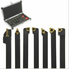 "Carbide Indexable Turning Tool 3/8"" 7 pc Lathe Tool Bit Set Thread Insert+Holder"