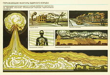 Soviet Russian Civil Defense Poster Print NBC Nuclear Blast and Shock Wave