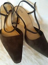 M&S brown suede ankle strap heels size 7 - Wedding, Christening, Evening, Races