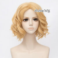 35CM Lolita Hair Short Light Blonde Curly Hair Lady Cosplay Wig Heat Resistant