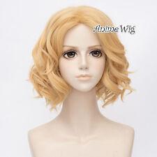 35CM Short Light Blonde Curly Lolita Hair Ladies Cosplay Wig Heat Resistant+Cap