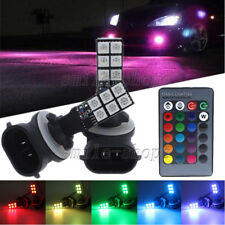 2pcs RGB Multi-Color Remote Control 881 886 898 12-SMD LED Bulbs For Fog Lights