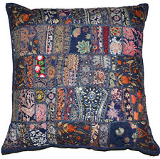 "24"" XL Blue DecorativeThrow pillow, Indian Vintage patchwork sari couch pillow"