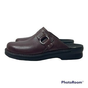 Clarks Collection Patty Lorene Soft Cushion Slip On Leather Mules 8.5 Burgundy