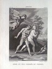 ADAMO ED EVA CACCIATI DAL PARADISO Incisione originale XIX secolo RELIGIOSE