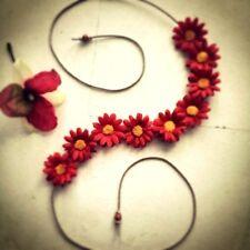 New Hand Made Red Daisy Headband Ruby Red Floral Daisy Hairband Crown Tiara OSFA