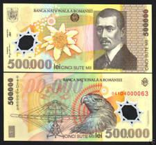ROMANIA 500000 500,000 LEI P115 2000 EAGLE AIR PLANE POLYMER UNC MONEY BANK NOTE
