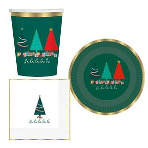 Traditional Tableware Christmas Tree Party Paper Cups Plates Napkins Gold Green