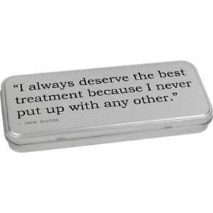 Quote By Jane Austen Metal Hinged Tin / Storage Box (TT006703)