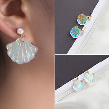 Simple Mermaid Rainbow Pearl Shell Earrings R034 (Color: Multicolor)