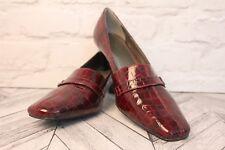 LOTUS Burgundy Crocodile Skin Thick Cuban Heels Women's Shoes RRP £55 UK 8 / 41