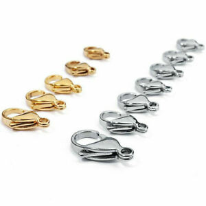 50pcs/lot 18k Gold Plated Stainless Steel Lobster Clasp Hook Claw Clasp Findings
