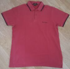 Ben Sherman Polo T Shirt Tee Top Short Sleeves Signature Red Size L