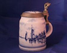 Antique Blue/White Delft Style Porcelain Beer Stein w/Lithophane Swaine Co c1900