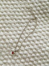 New Silver Chain Anklet Bracelet w/ Heart Charm Red Flower & Clear Rhinestones