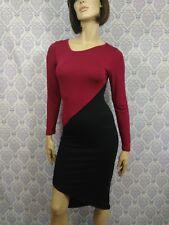 American Twist Dress Stretch Bodycon Assymetrical Hem Size M Black Burgundy USA